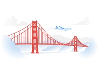 Golden Gate Bridge Vector Illustration