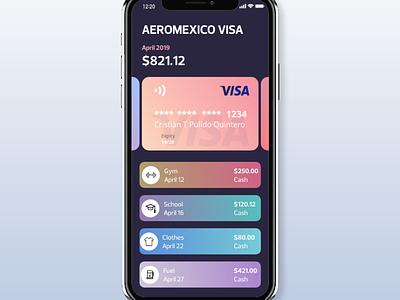 Pay screen adobe xd app visa iphone movil diseño banco dinero tarjeta pago