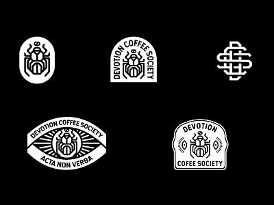 Devotion Coffee Society branding illustration identity branding brand identity coffee logo coffee badge hunting badge design badgedesign badge logo badge logotype logo design logo branding and identity