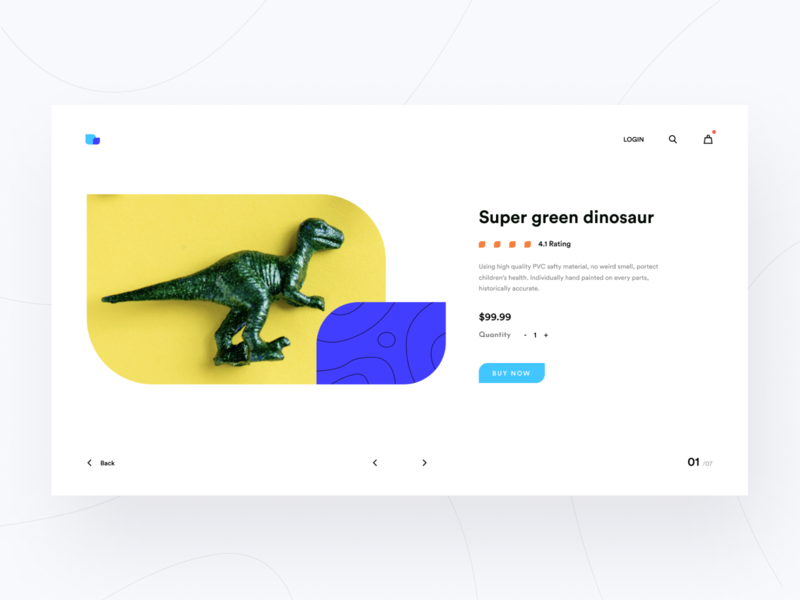 Super Green Dinosaur 🦖 toy t-rex ecommerce composition typography clean swiss minimal web layout ritzmo ui