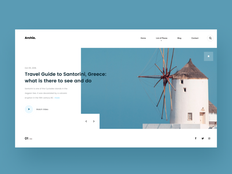 Travel Guide cover composition header typography clean swiss minimal layout web ritzmo ui