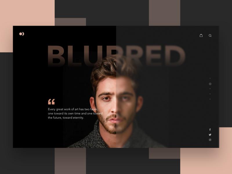 Blurred fluent design portfolio fashion model ui composition landing typography clean web layout ritzmo