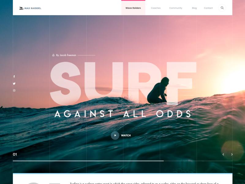Surf surfing wave sea sports surf header ui clean swiss minimal layout ritzmo