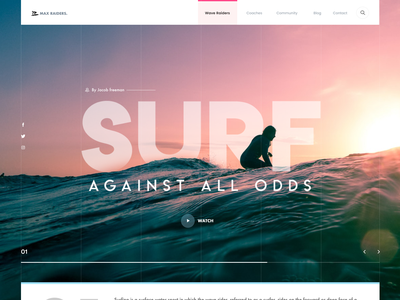 Surf surfing wave sea sports surf header ui clean swiss minimal layout ritzmo