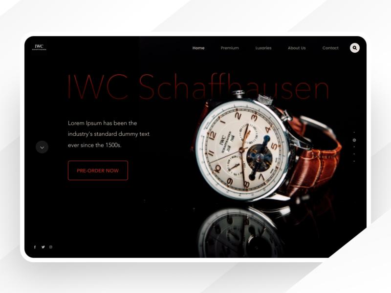 IWC schaffhausen - web header landing page header web product design ecommerce industrial store shop minimal fashion ui dark black clean