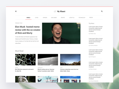 My Planet - News blog elonmusk web desgin web typography ritzmo news menu grid layout grid category blog article