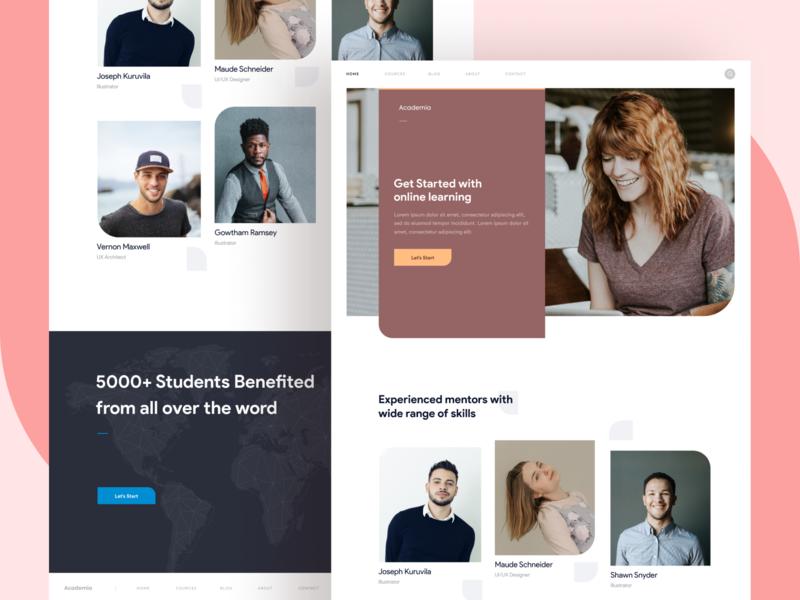 Online Learning - Website Design website header vector ui ritzmo web online course learning online logo illustraion designer branding