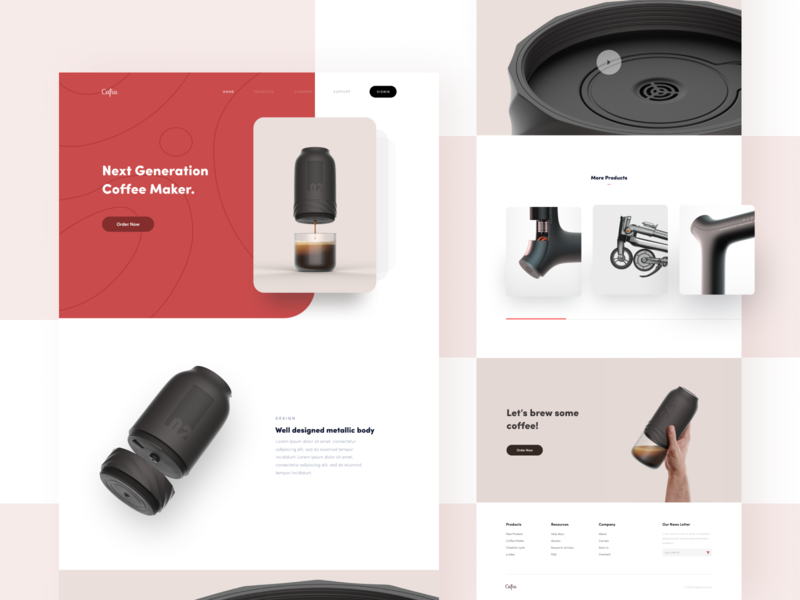 coffee maker - Website Concept product coffee vector branding logo illustration header typography minimal web ritzmo ui
