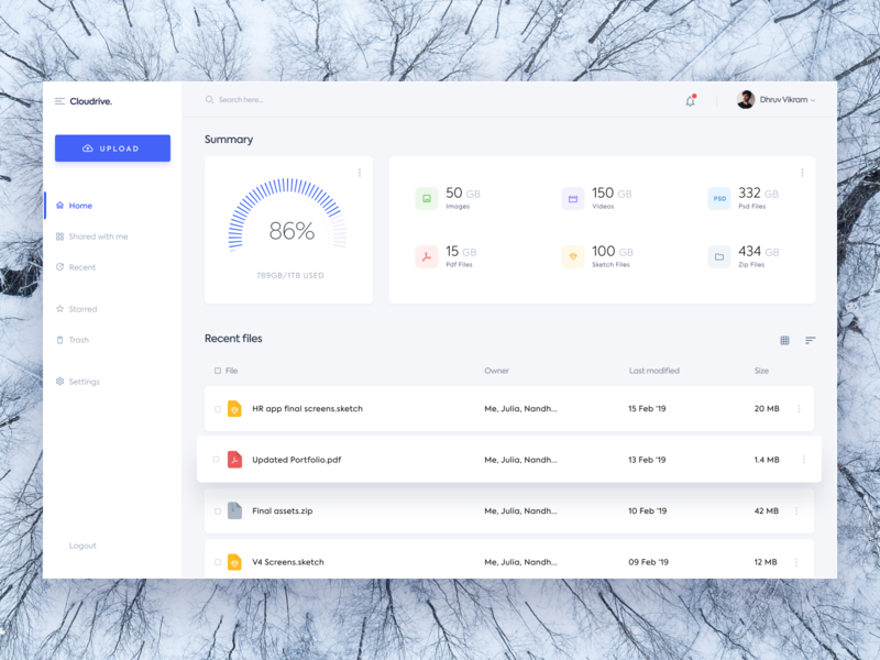 Cloudrive - Files Dashboard blue dashboad file manager file document app clean typography minimal ritzmo ui