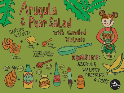 Arugula Pear Salad Recipe iconography icons playful recipe garden arugula illustrated recipe kids illustration characters editorial illustration editorial illustration