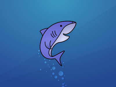 Shark under the sea vector illustration fish ocean water shark zoo