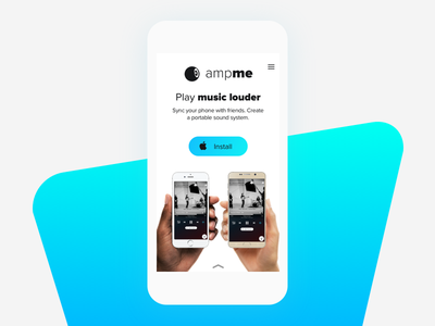 AmpMe new home page ux ui music sync ampme mobile web