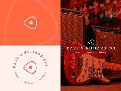 Dave's Guitars CLT minimal brand typography print branding identity illustration brand identity logo design