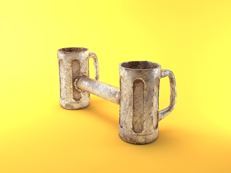 Drinking is Hard dumbbell 3d illustration metal life si hard life hard tap beer drinking