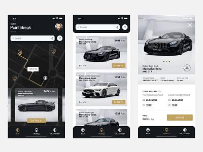vehicle - app, screens rent a car app ui leobeard
