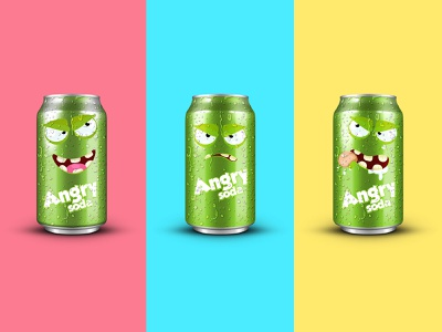 Angry Soda Concept vector package leobeard soda can packaging