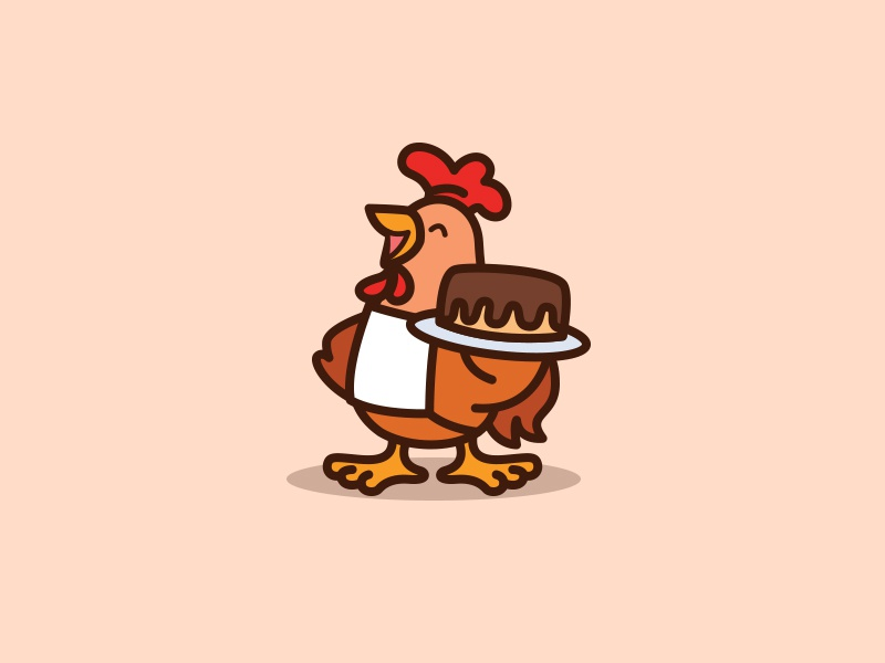 Chicken Cake Logo Design By Kongfamily Dribbble Dribbble