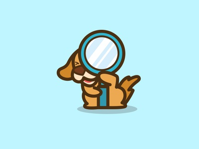 Search Logo Design store sniffing sniffer shop searching search pet mascot magnifier founding found dog