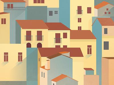 downtown.jpg 2d downtown favela gradient vector house architecture illustration