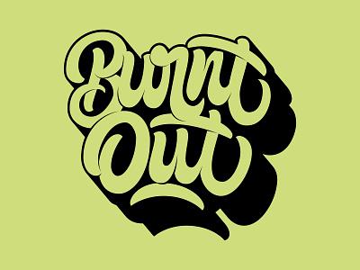 Burnt Out logomark icon illustration typography vector hand lettering custom type logo branding type