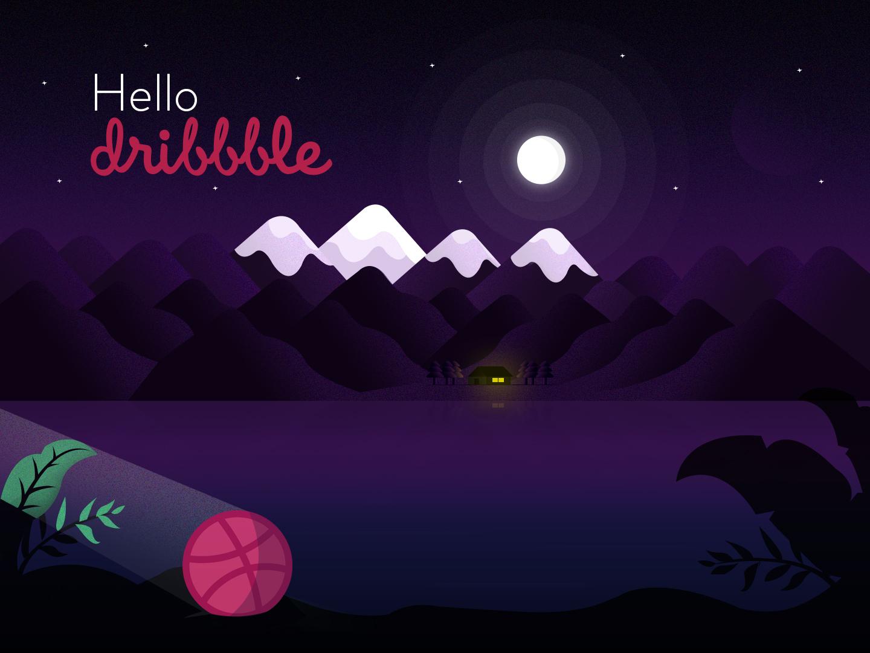 Hello Dribbble landscape design vector illustration