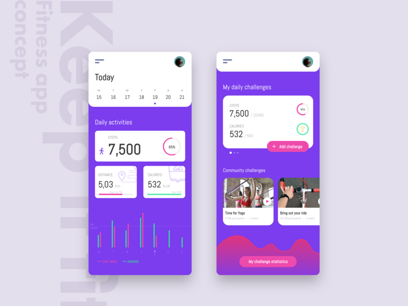 MyFitness App Concept figma app  design design interface minimal simple flat fitness app fitness fit ux ui app