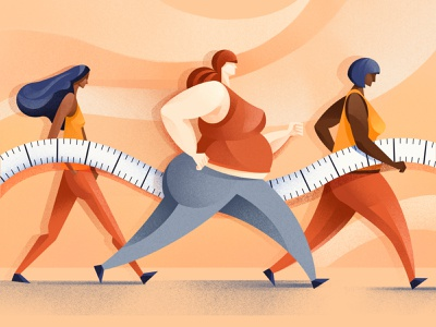 How body size became a disease - Scientific American ipadpro procreate texture weight weightloss healthcare health obesity women size body measuring tape editorial illustration illustrator editorial illustration chiara vercesi