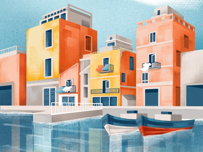 The Circular Tour - Eni x Coldiretti sea waterfront houses institutional ipad procreate water reflex italy puglia illustration chiara vercesi