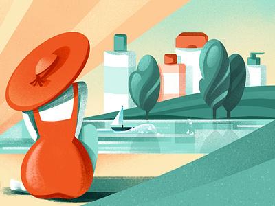Skin Cancer Prevention - JOP medical woman skin summer sunscreen health sun prevention illustration chiara vercesi