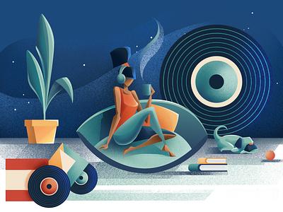 Good evening - Quartz music girl evening texture editorial illustration plant tea good night vynil good vibes dog good evening editorial illustration chiara vercesi