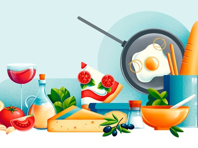 I love Guido - website restaurant tomatoes olives cheese tour web wine pizza website web illustration pan egg food illustration chiara vercesi