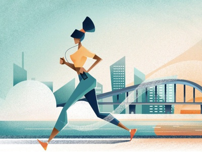 Good morning - Quartz sunrise woman good morning jogger running run girl city editorial illustration texture editorial illustration chiara vercesi