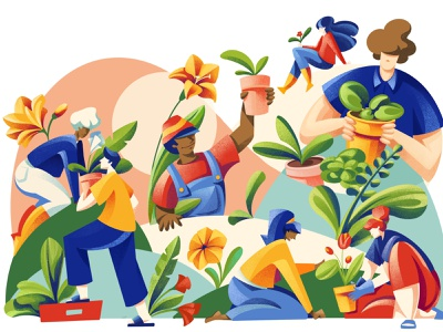 Putting Down Roots - Texas Coop Power Magazine flowers flower woman texture nature people ipad gardeners garden plants plant editorial illustration editorial procreate illustration chiara vercesi