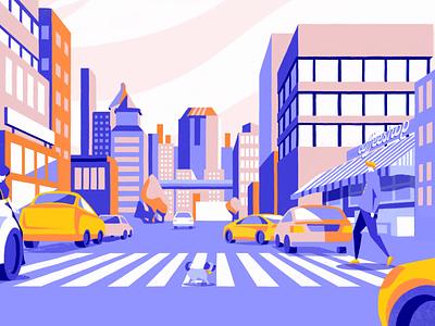 Intro video - Cuboid Parking cell animation dog street traffic cars lady city walk walk cycle motion design animation procreate illustration chiara vercesi