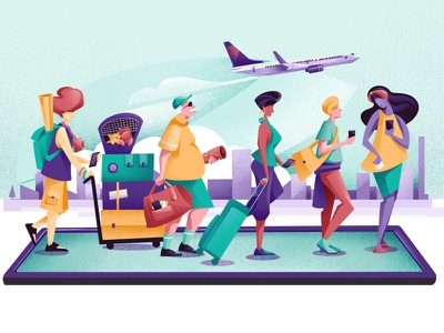 Apps on the radar Travel - LTV magazine characters phone app travelling travelers journey travel travel app ipad editorial illustration editorial procreate chiara vercesi illustration