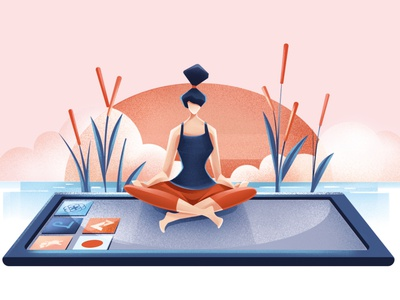 Apps on the radar - Wellness - LTV magazine sunrise woman calm peace meditation wellness wellness app yoga editorial illustration editorial procreate illustration chiara vercesi