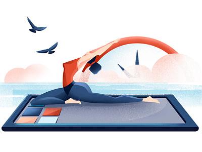 Apps on the radar - Wellness - LTV magazine phone app wellness app wellness yoga woman texture editorial illustration editorial procreate illustration chiara vercesi
