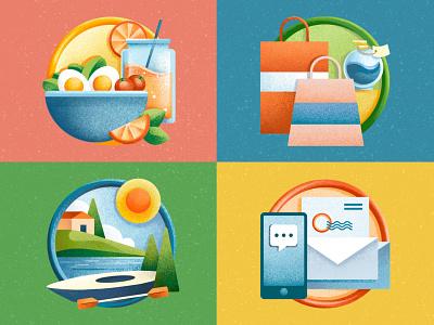 Icons - Virginia Living Magazine services outdoor shopping food ipad pro texture icons set icons editorial illustration editorial procreate illustration chiara vercesi
