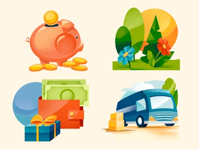Icons - Greenopolis board game piggybank wallet flowers trees texture icons design electric van taxes sustainability green savings icons boardgame procreate illustration chiara vercesi