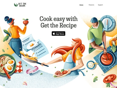 Get the Recipe Illustrated header tomato egg ramen cooking app app cook cooking food website website illustration procreate illustration chiara vercesi