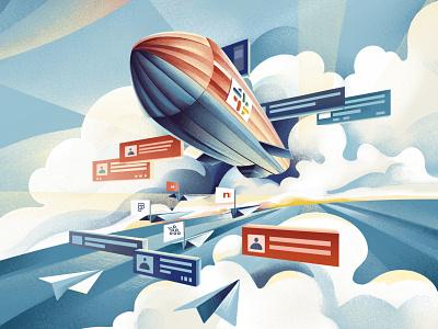 The future of the digital workplace - Quartz field guide zeppelin tech remote work tech company slack ipad texture editorial illustration editorial procreate illustration chiara vercesi