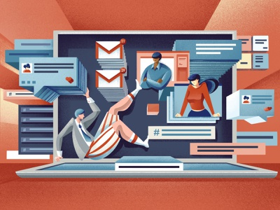 The future of workplace tech - Quartz field guide message app chat message videocall email slack tech company tech remote work texture procreate editorial illustration editorial illustration chiara vercesi