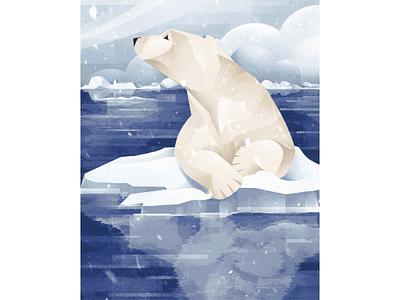 The Price of Extinction - Polar Bear globalwarming zoo arctic ice melting polar bear climate change earth day 2021 vector texture procreate illustration chiara vercesi