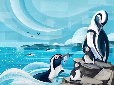 The price of Extinction - Lincoln Park Zoo animals illustrated conservation zoo overfishing african penguin penguin wildlife animals earthday2021 earthday texture procreate illustration chiara vercesi