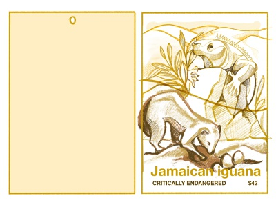 The price of extinction - Jamaican iguana eggs mongoose wildlife zoo conservation lizard iguana ipad ipad pro vector texture procreate illustration chiara vercesi