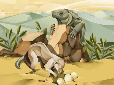 The price of extinction - Jamaican iguana eggs mongoose wildlife zoo conservation lizard iguana ipad ipad pro vector texture procreate illustration chiara vercesi