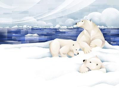 The Price of Extinction - Polar Bear earth day global warming wildlife climate change nature conservation zoo polar bears ice cubs arctic polar bear ipad pro texture procreate illustration chiara vercesi