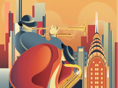 Jazz trumpet sax jazz new york music illustration chiara vercesi vector