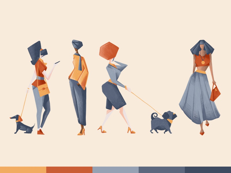 Sketches - Ladies & dogs women woman walk sketch sail ho studio photoshop sketch pencil lady ipad girl fashion dog characters character design illustration chiara vercesi
