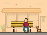 A Monday morning at a Bus Stop